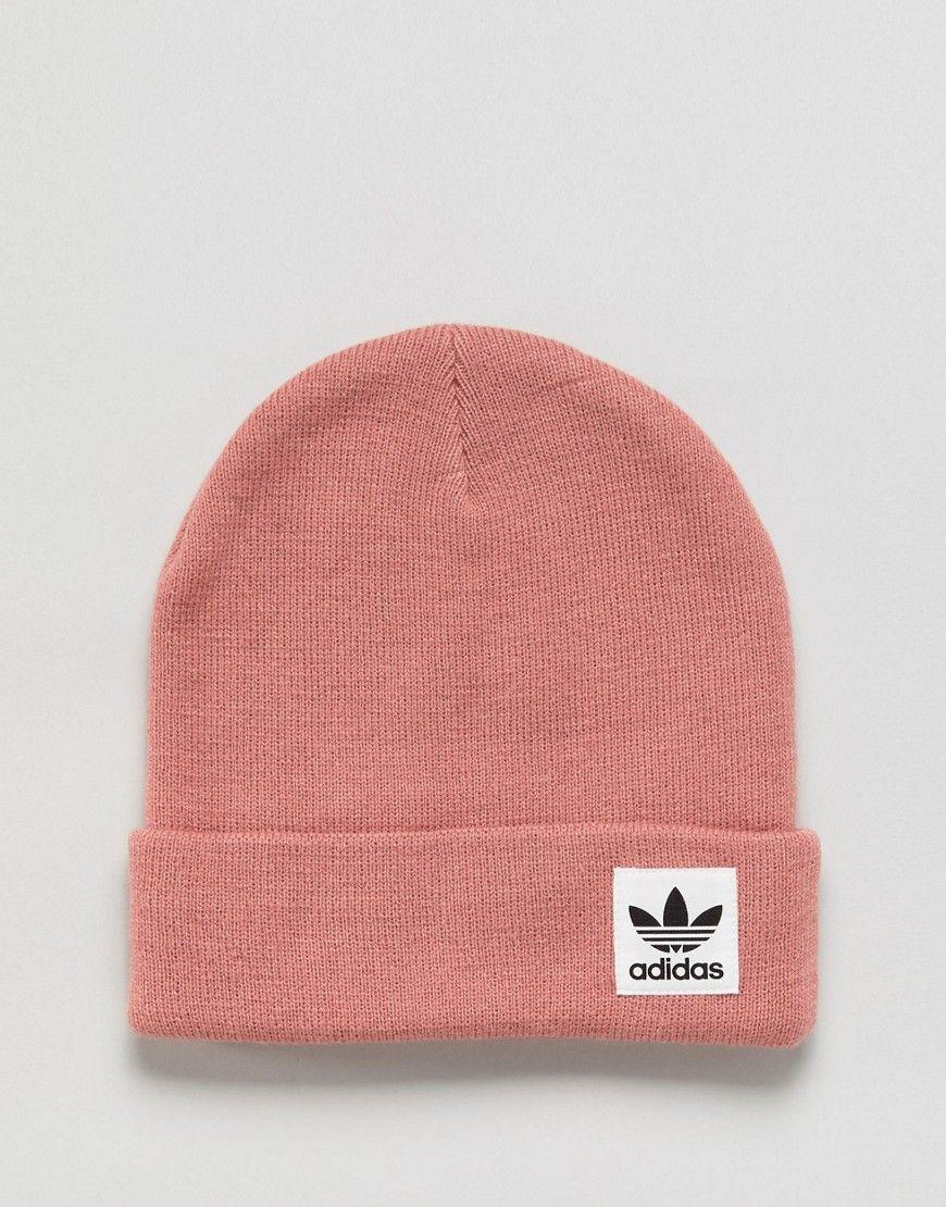 adidas Originals High Beanie With Trefoil Logo In Ash Pink - Pink