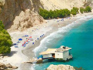 Mooiste stranden van district Chania op Kreta.  Glyka Nera