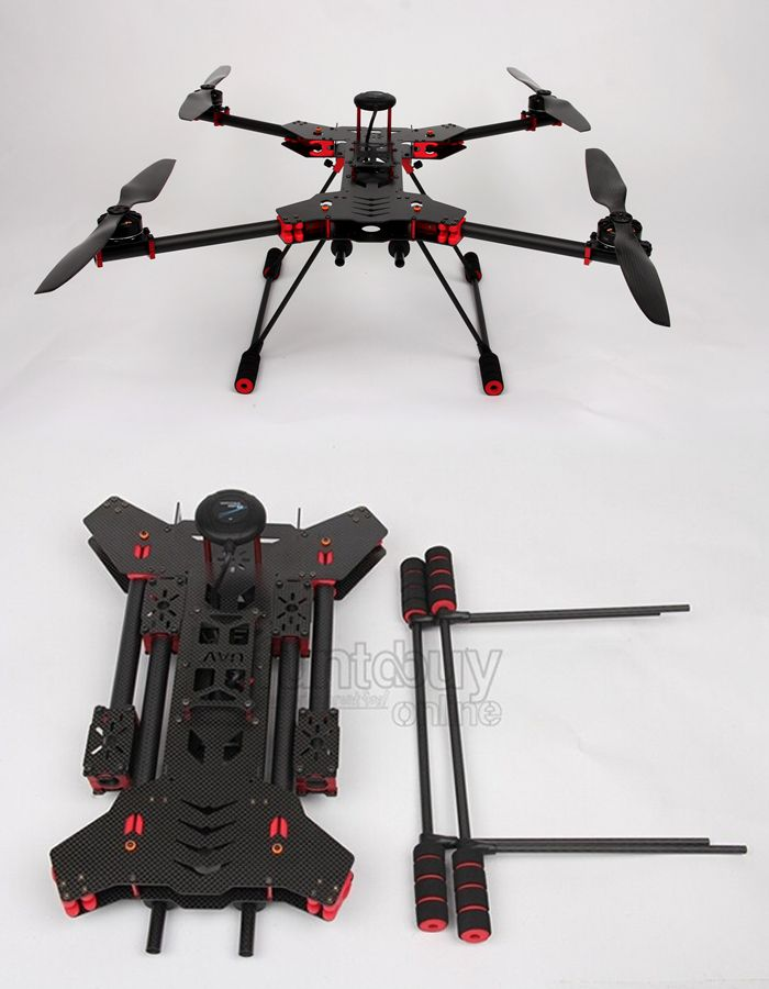 H4 680mm Alien Carbon Fiber Folding Quadcopter Frame Kit Aircraft ...