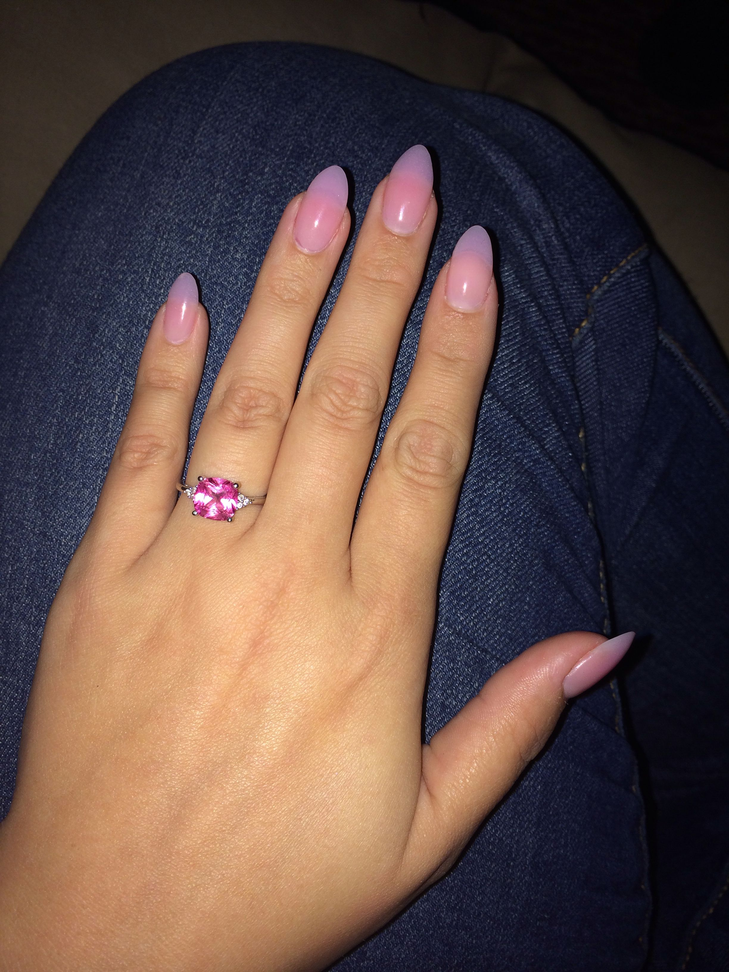 Almond Shaped Acrylic Nails In Cover Pink Uv Gel Top Coat My New Favorite Look Acrylic Nails Coffin Nails Almond Nails