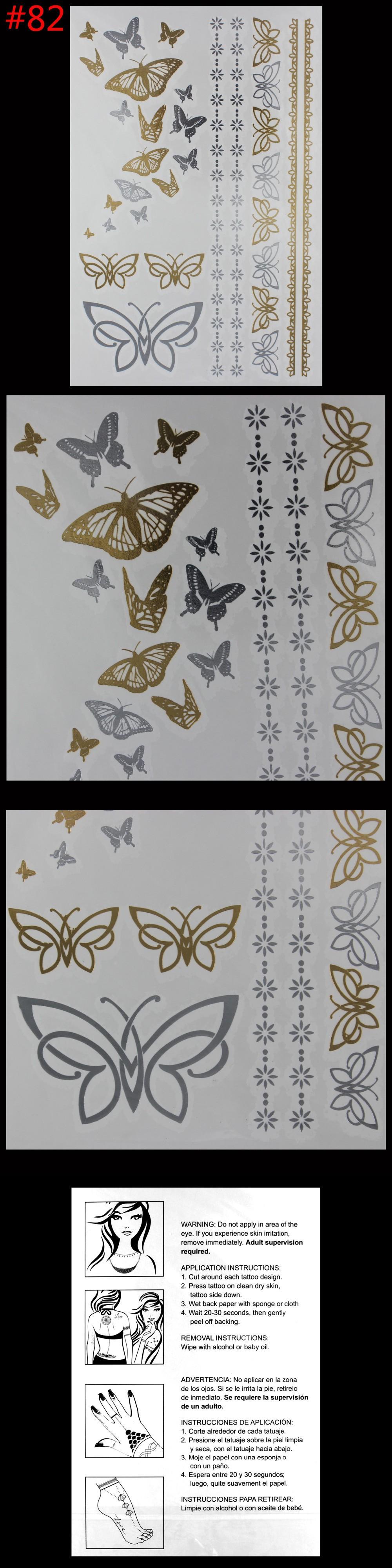 Women temporary tattoo waterproof metal gold butterfly bracelet