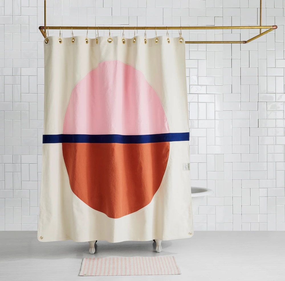 Arco Phlox Hand Sewn Color Blocked Shower Curtain Quiet Town