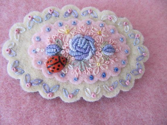 Wool felt embroidered brooch by mariadownunder on Etsy, $20.00
