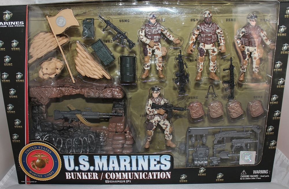 US Marines Toy Set Bunker Communications Defender Playset #Excite