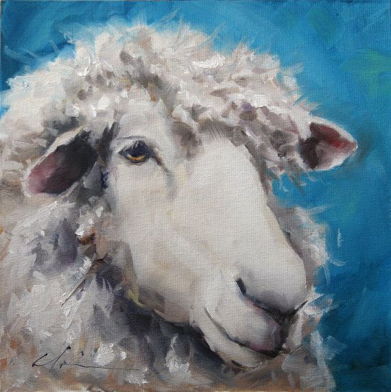 Fuzzy Wool White Sheep Face on Blue Background by hartart13, $285.00