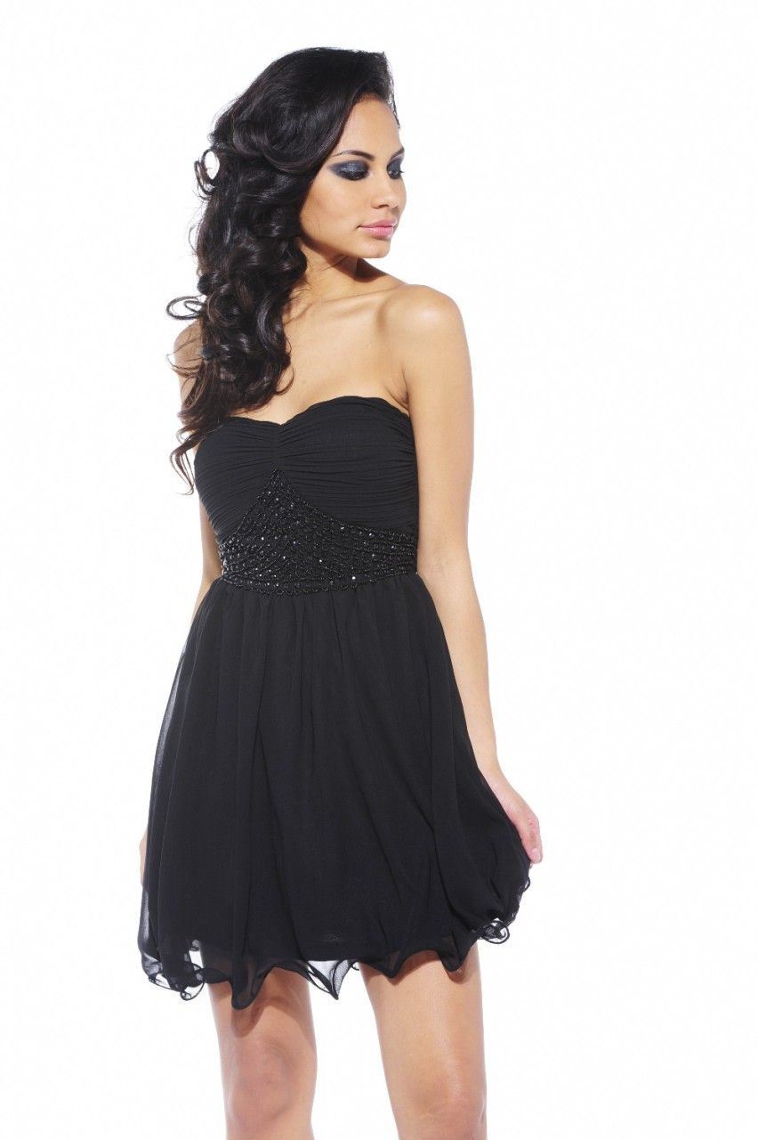 Black Chiffon Strapless Dress with Embellished Detail | End of ...