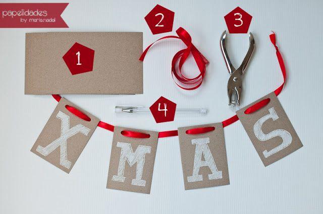 papelidades: navidad · idea para una guirnalda // xmas · garland idea