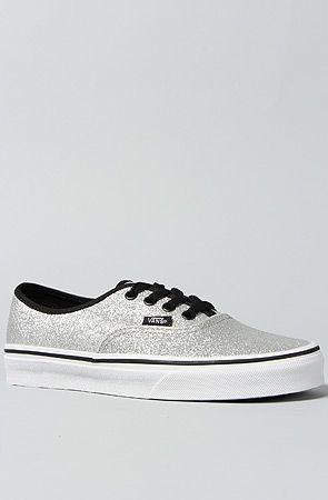 vans era glitter skate shoe black/silver