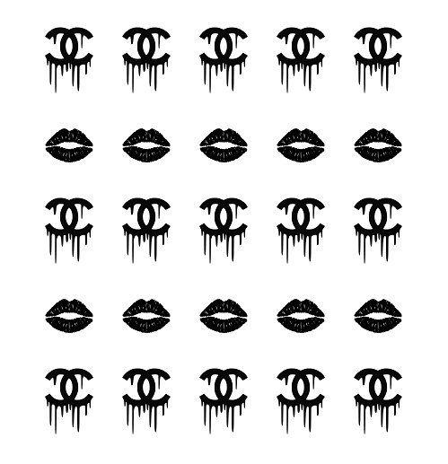 black lips & chanel drip logo nail