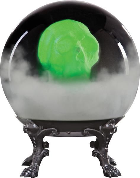 """åÊ This haunted crystal ball features a spooky skull that lights up and appears to float inside the globe as it makes scary haunting sounds. It is sound activated and battery operated with 4 AA batteries that are included in the item. Size is 21"""" x 15"""" x 15""""."""