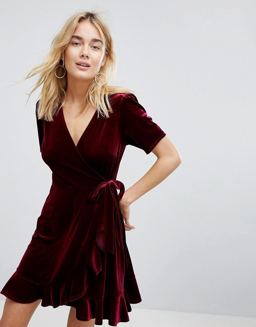 686bb076b3 NEW LOOK VELVET RUFFLE WRAP DRESS - RED. #newlook #cloth # | New ...