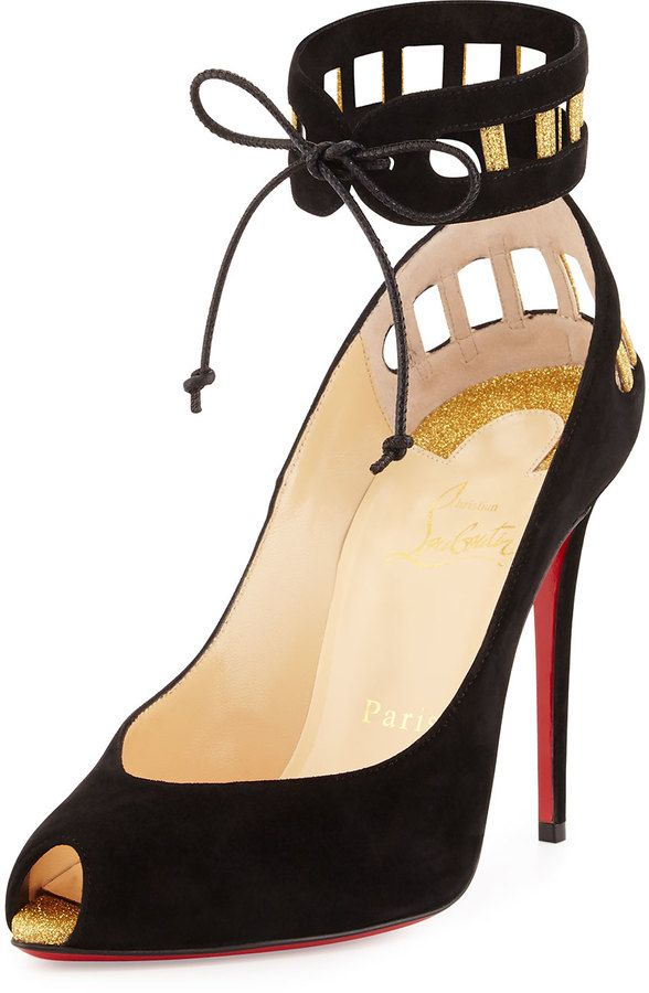 Christian Louboutin Neotrente Caged Peep-Toe Red Sole Pump, Black/Gold