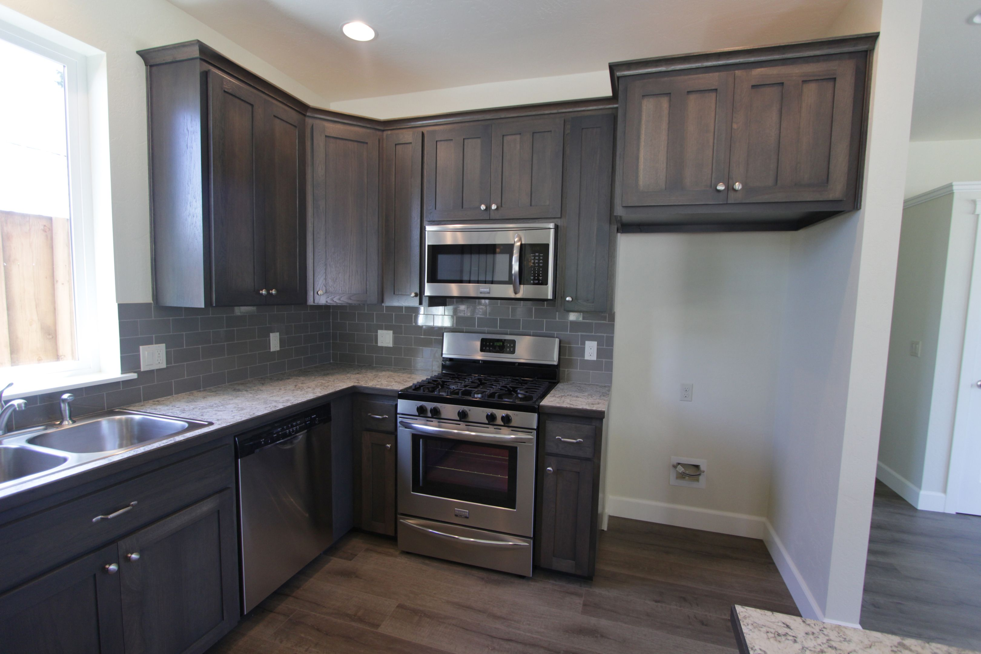Kitchen Shaker Style Hickory Grey Color Recessed Panel Split Panel 9 Crown Standard Overlay Kitchen Shaker Style Custom Cabinets