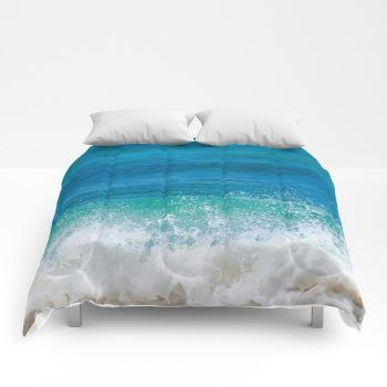Hawaiian Wave Comforter Ocean Sea Bedding Beach Coastal Style Full King Queen Sizes With Images Beach Bedding Sets Beach Theme Decor Bed