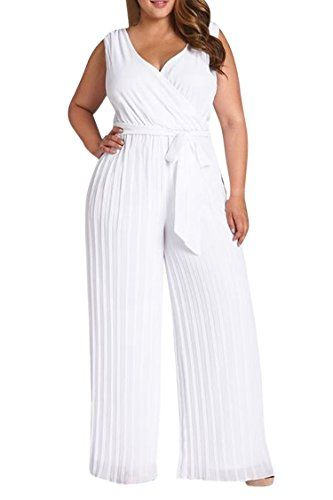 f53fe969c15 Fashion Bug Women s Plus Size V Neck Ruched Tank Top Wide Pant Jumpsuit  Romper  FashionBug  PlusSize  Jumpsuits  Rompers www.fashionbug.us