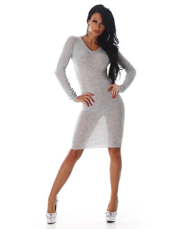 0527732253 Divatos ruha - sportos, áttetsző, V-kivágású szürke | Szexi ruha ...