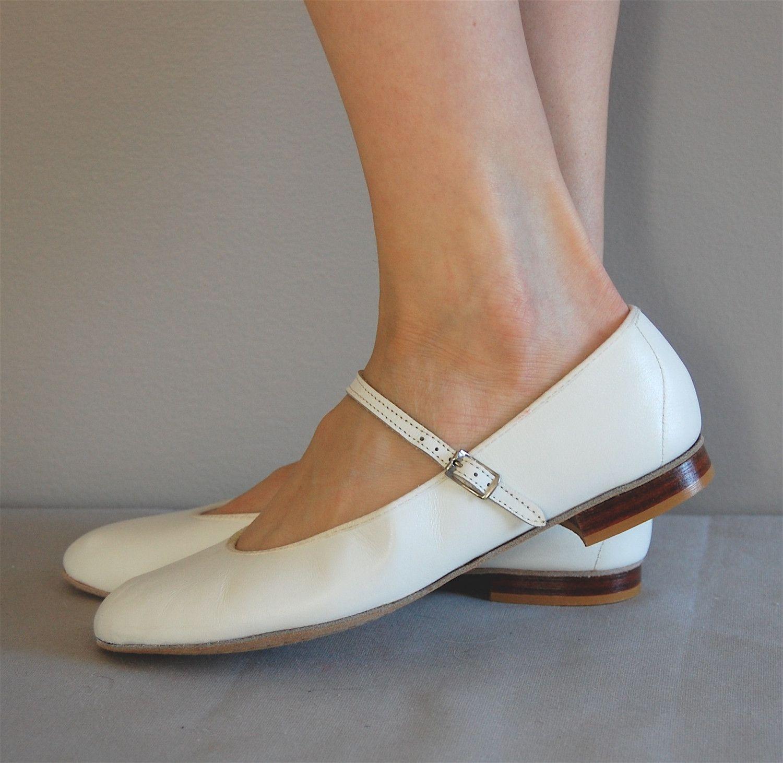 vintage White MARY JANE Flats.