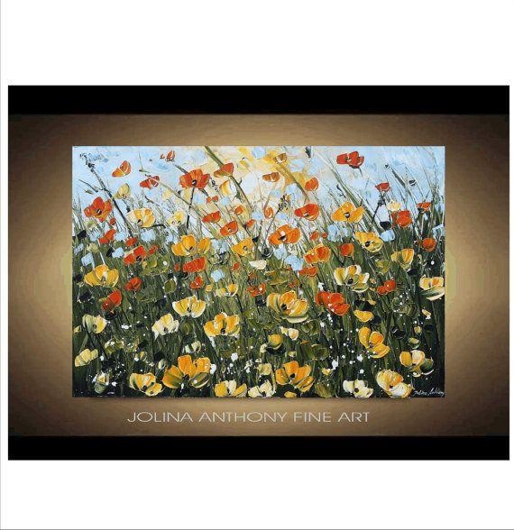 Painting 36 Flower Poppys Original painting by jolinaanthony, $279.00-Etsy