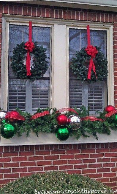 windowboxes decorated for christmas - Large Window Christmas Decorating Ideas
