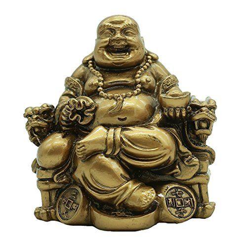 Statue De Bouddha Maitreya Rieur Assis Sur Chaise D Empereur En