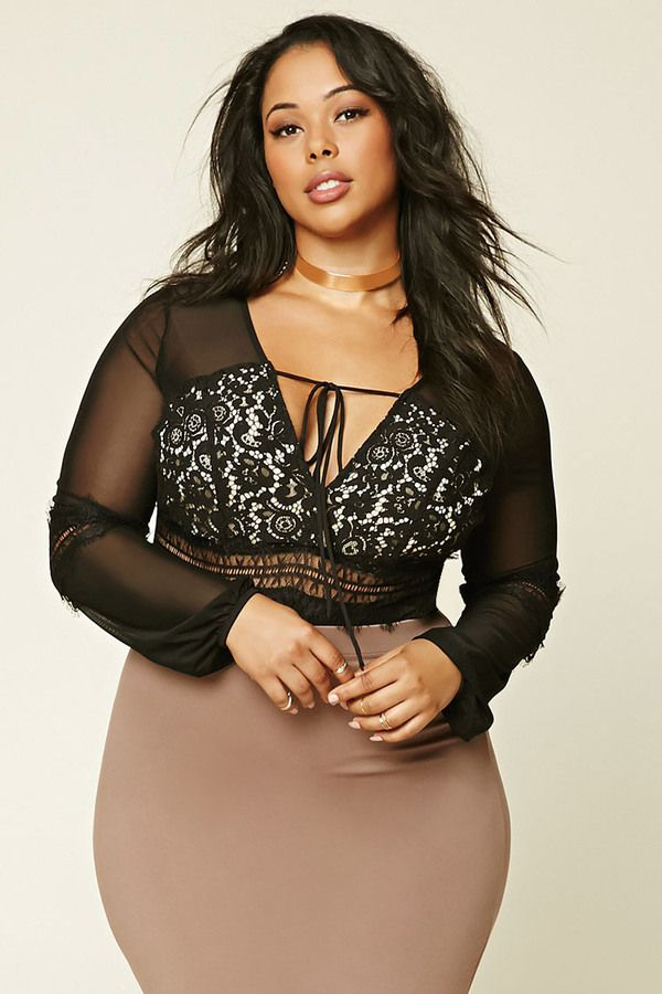forever 21+ plus size mesh lace bodysuit   fashion for the curvy