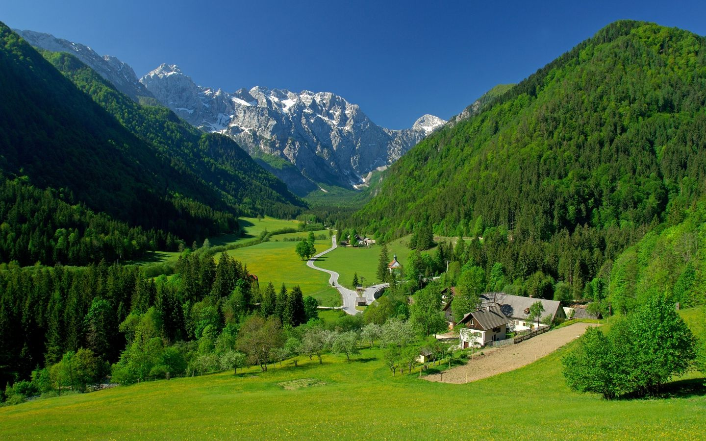 1440x900 Wallpaper Spring Alpine Valley Mountains Fields Landscape Tourist Places Slovenia Travel Beautiful Places