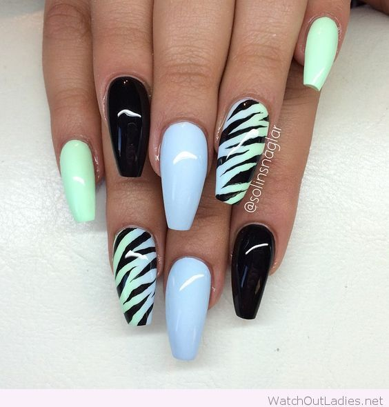 Light Blue Nails With Mint And Black