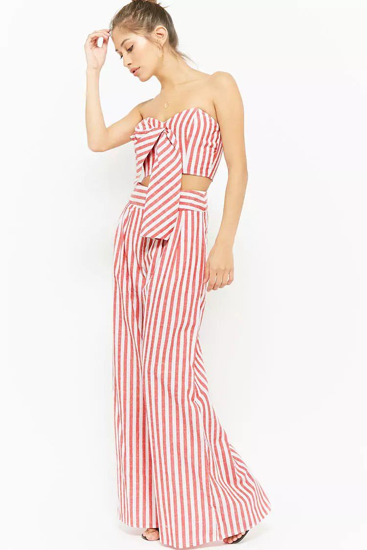 0b25746d8497 Product Name Striped Tie-Front Crop Tube Top   Palazzo Pants Set ...