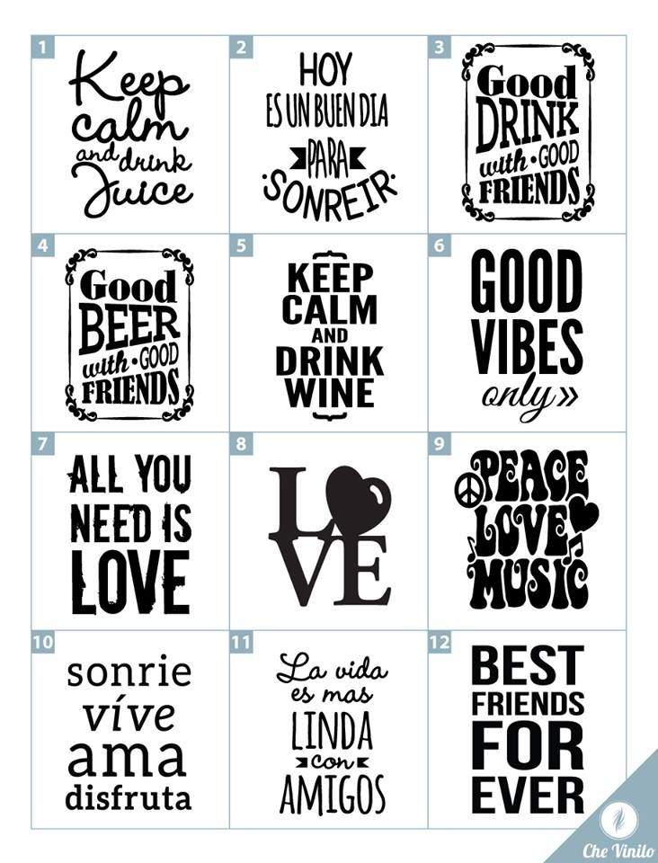 Vinilos frases para frascos vinilos decorativos for Frases en vinilo para pared