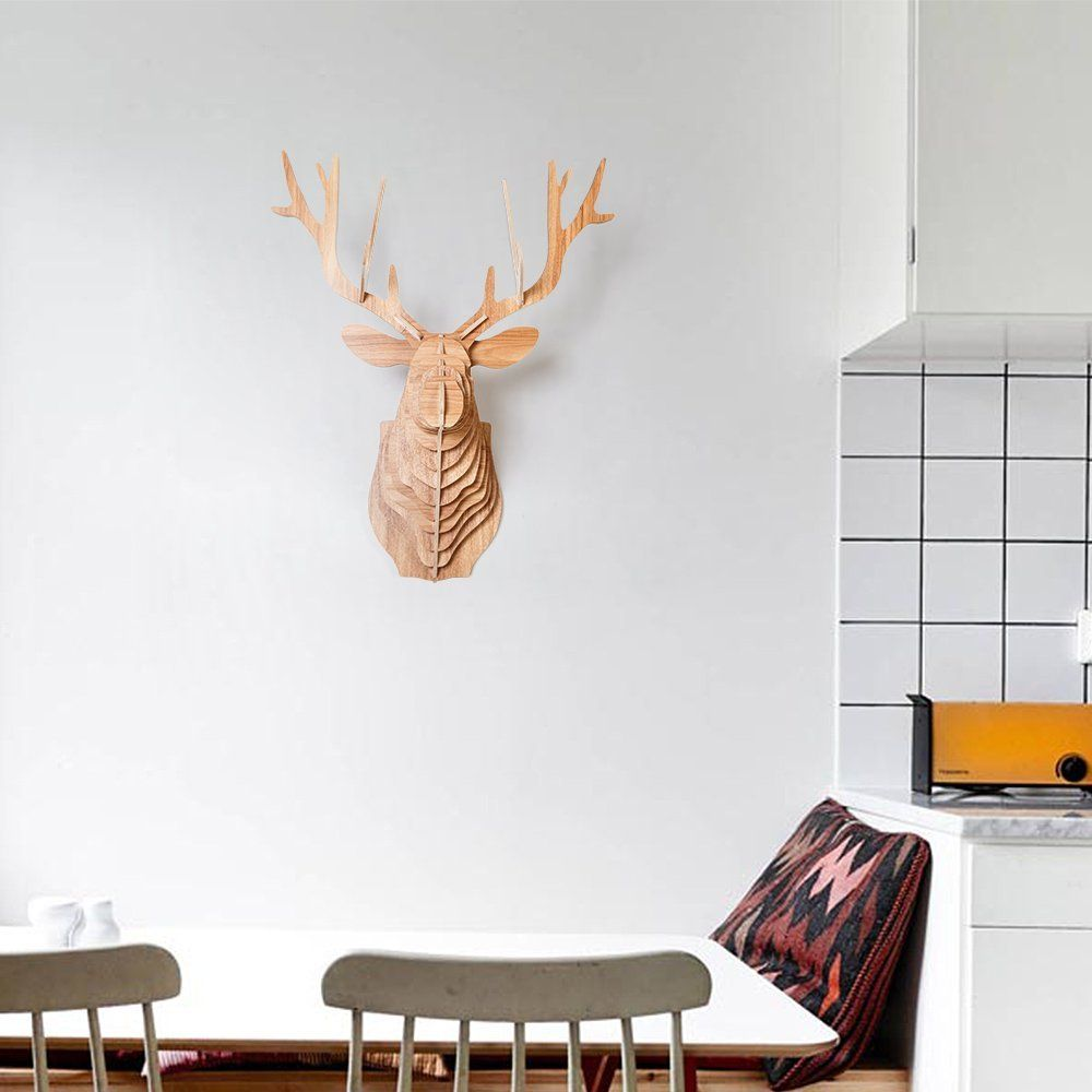 HROOME DIY 3D Wooden Wall Art Wildlife Animal Faux Elk Deer Head ...