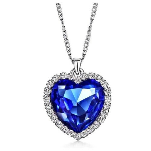 Made Using Swarovski Crystals The Mycah Blue Heart Necklace $98 S11  | eBay