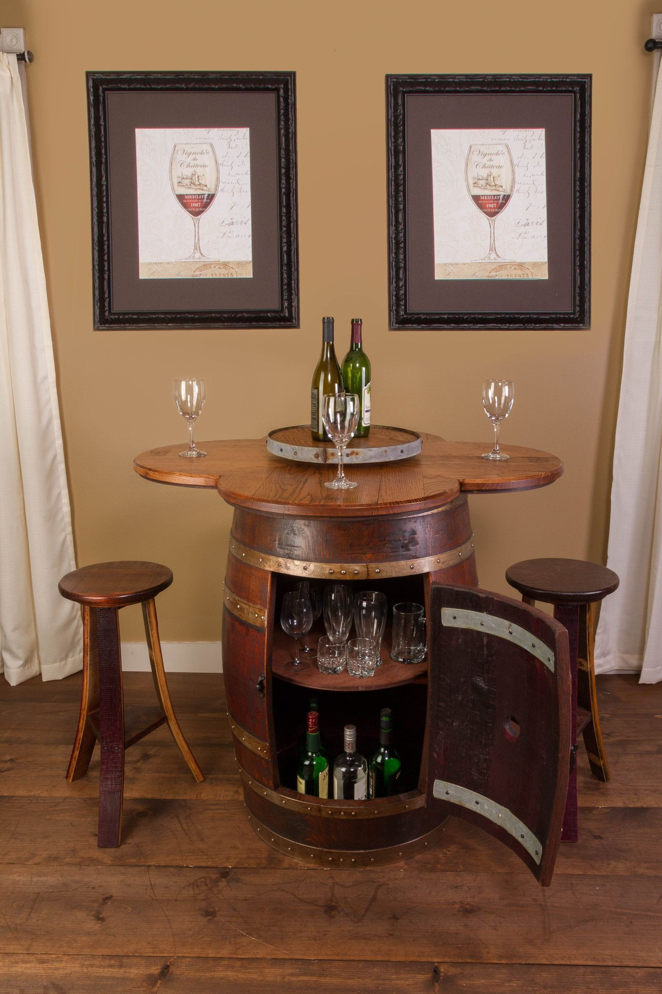 Wine Barrel Table Set Cabinet Base With 4 Stools Wine