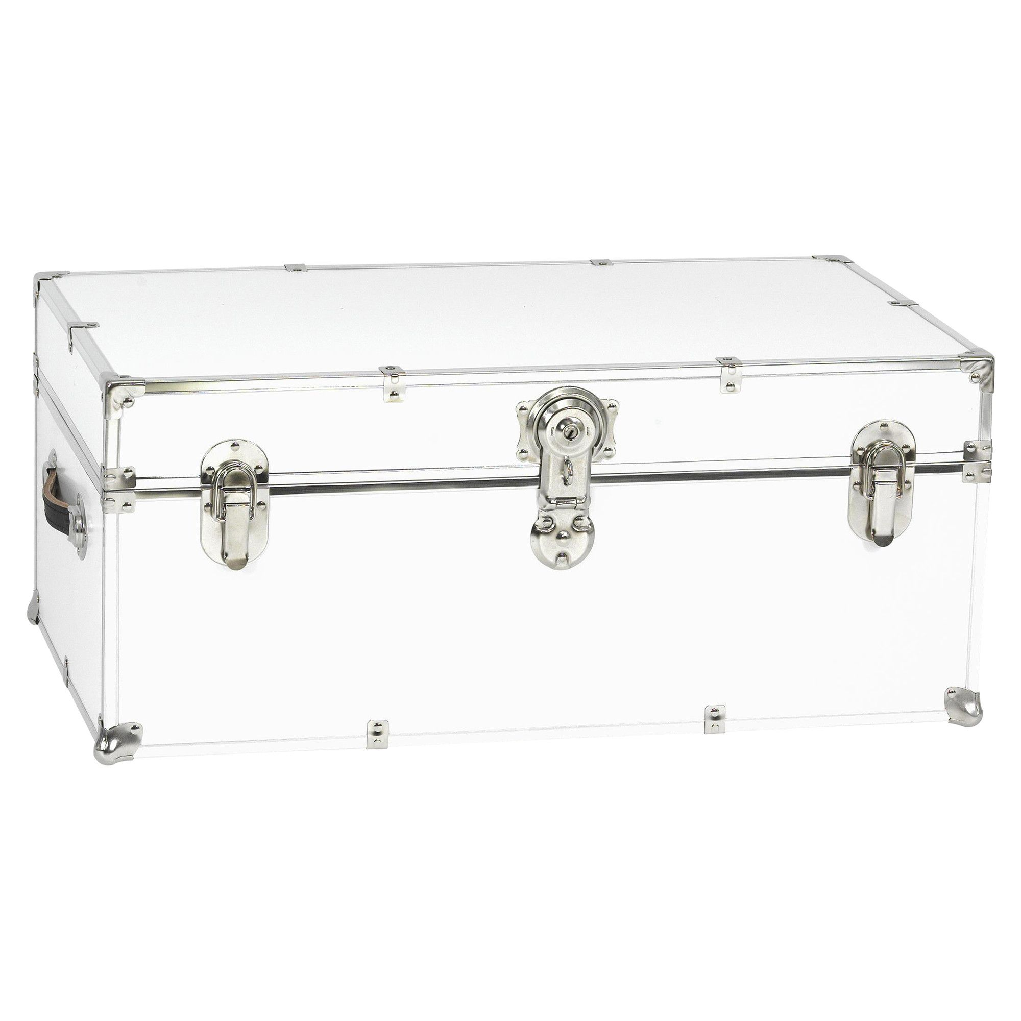 Stanley Case Works Small White Steel Storage Trunk For