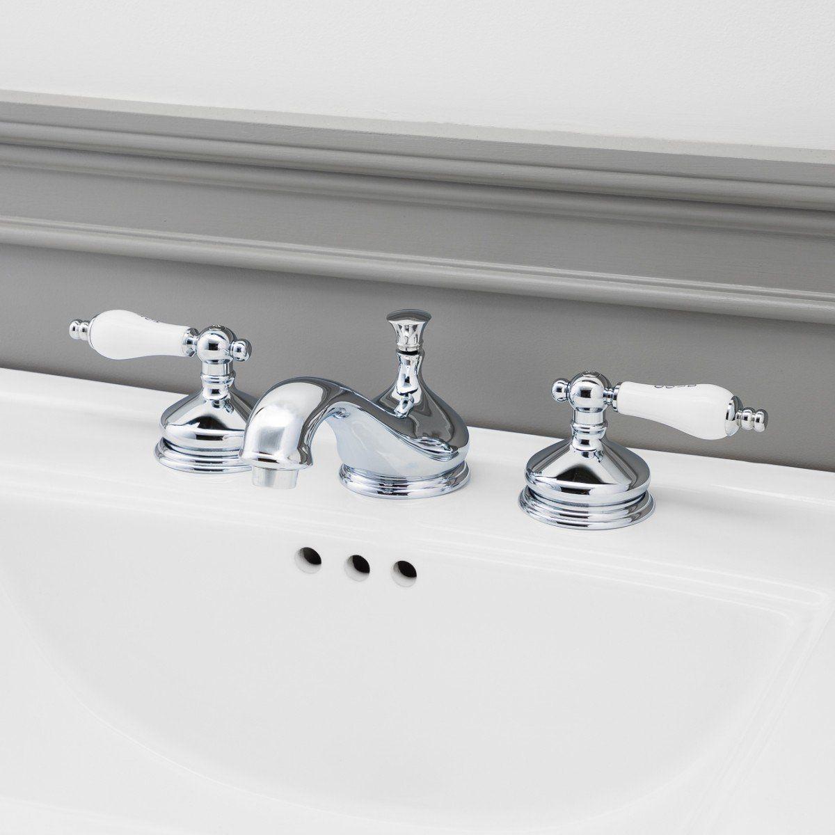 Teapot Widespread Bathroom Sink Faucet Porcelain Lever Handles