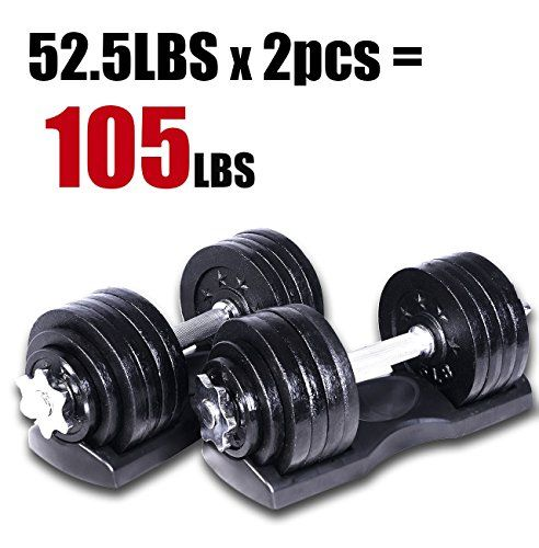 Starring 105  200 Lbs adjustable dumbbells 105 LBS Black with Trays >>> Click image to review more details.(This is an Amazon affiliate link)