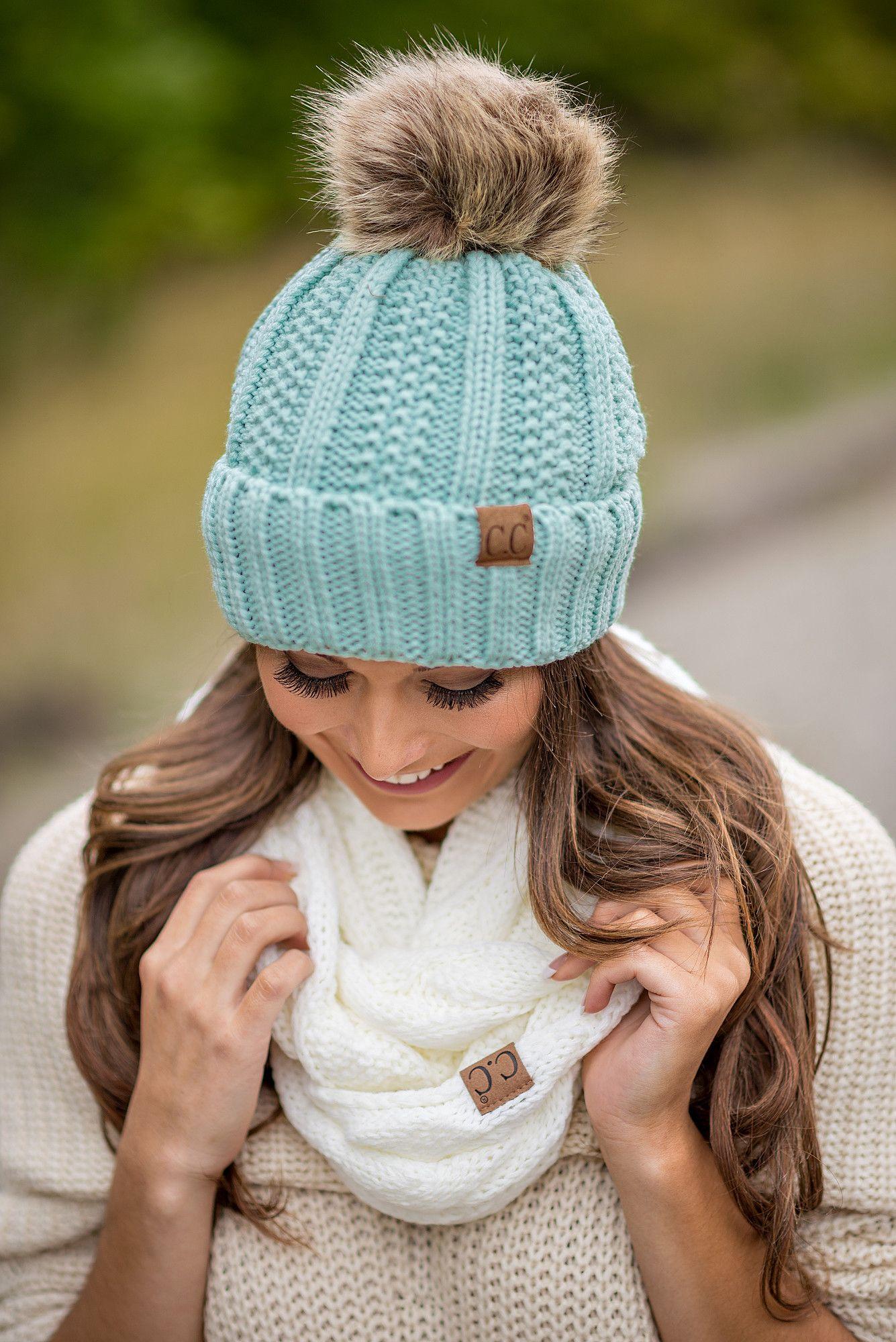 CC Knit Blanket Lined Fur Pom Pom Beanie (Mint)