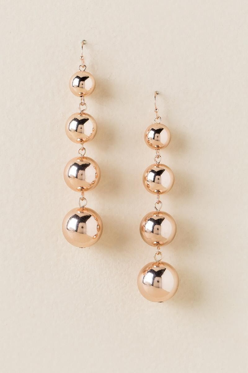 Whitney Bauble Ball Drop Earring In Rose Gold