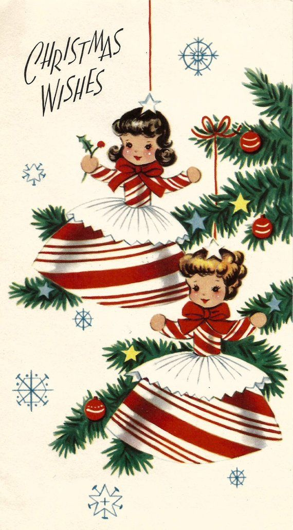 Vintage retro Christmas card peppermint candy cane girls digital ...