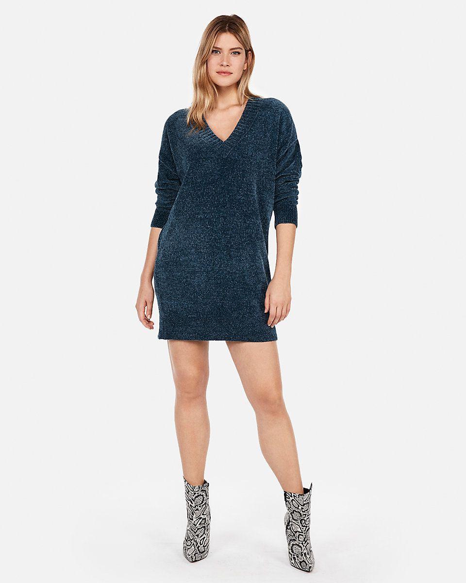 7cbbabba43b V-neck Shift Sweater Dress