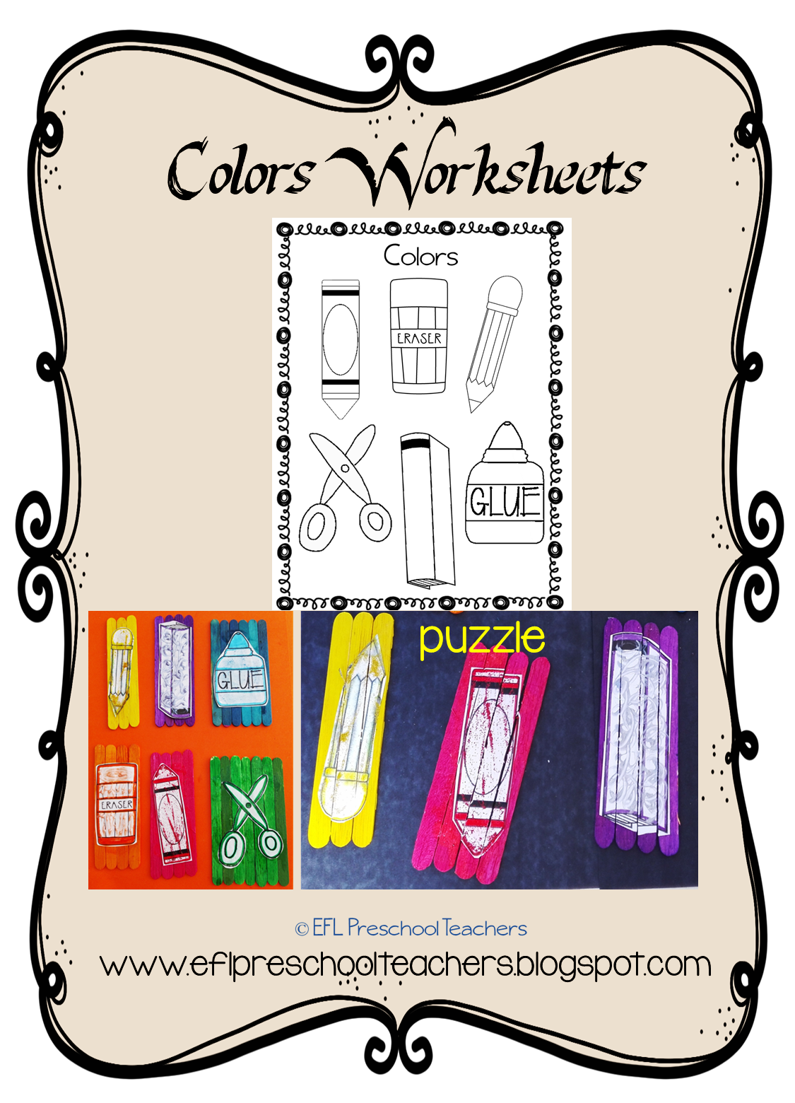 Esl Color And School Unit Worksheet And Then Make A Puzzle