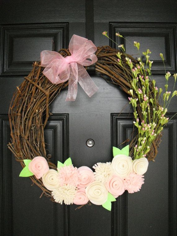 So pretty! - Floral Easter Wreath by ATPitman on Etsy, $35.00