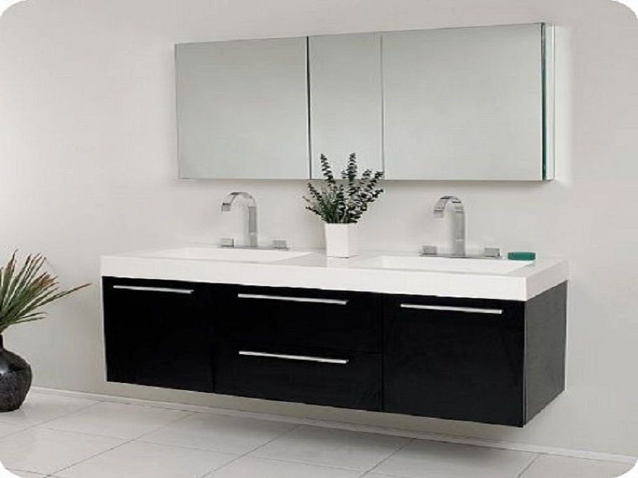 Enjoy with exclusive bathroom sink cabinets black modern for Double basin bathroom sinks