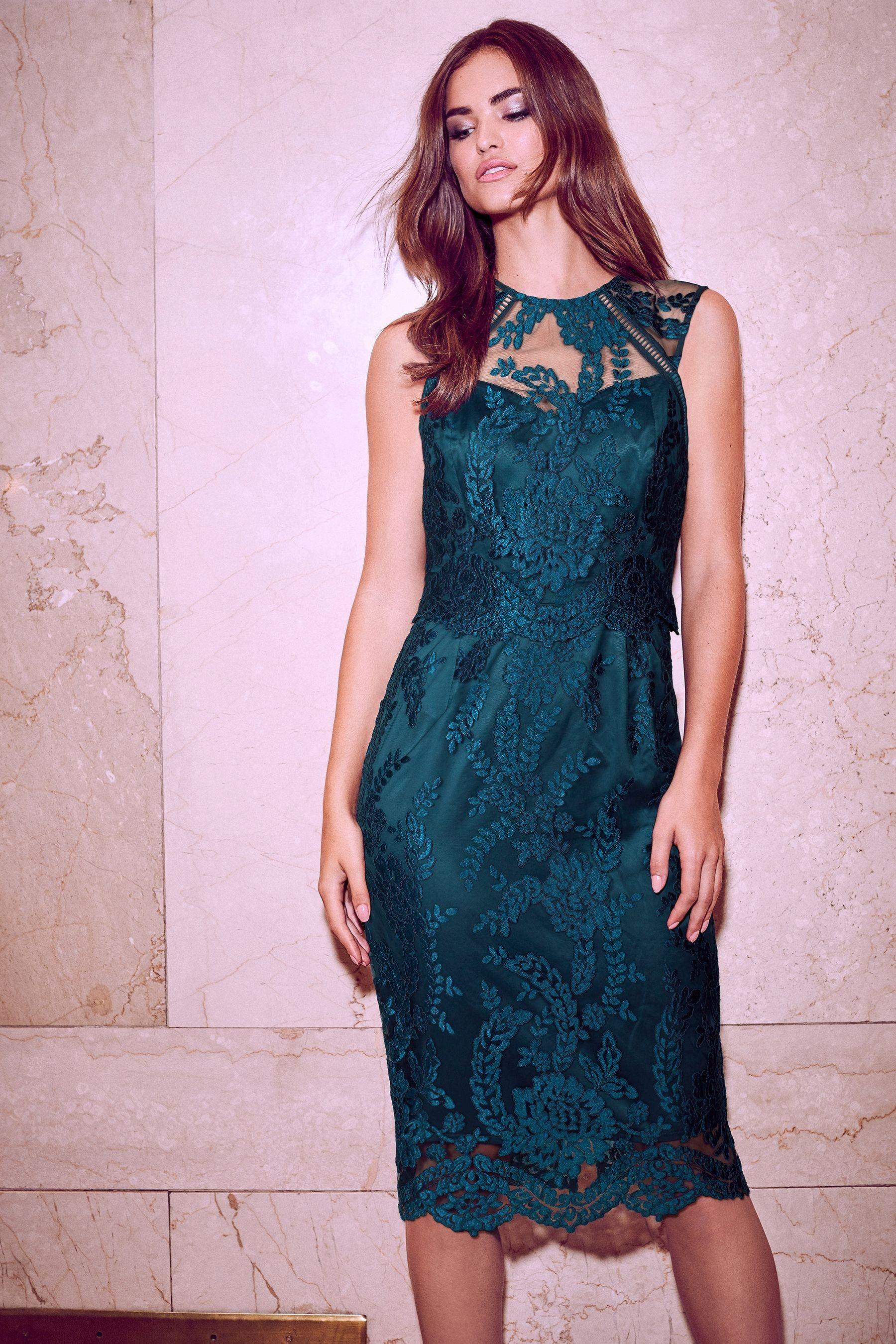 67de25f2c4eda Womens Lipsy Petite VIP Sequin Scallop Lace Midi Dress - Green ...