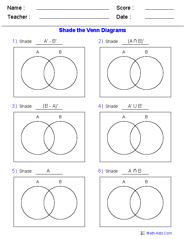 This Venn Diagram Worksheet is a great template using two sets – Set Theory Math Worksheets