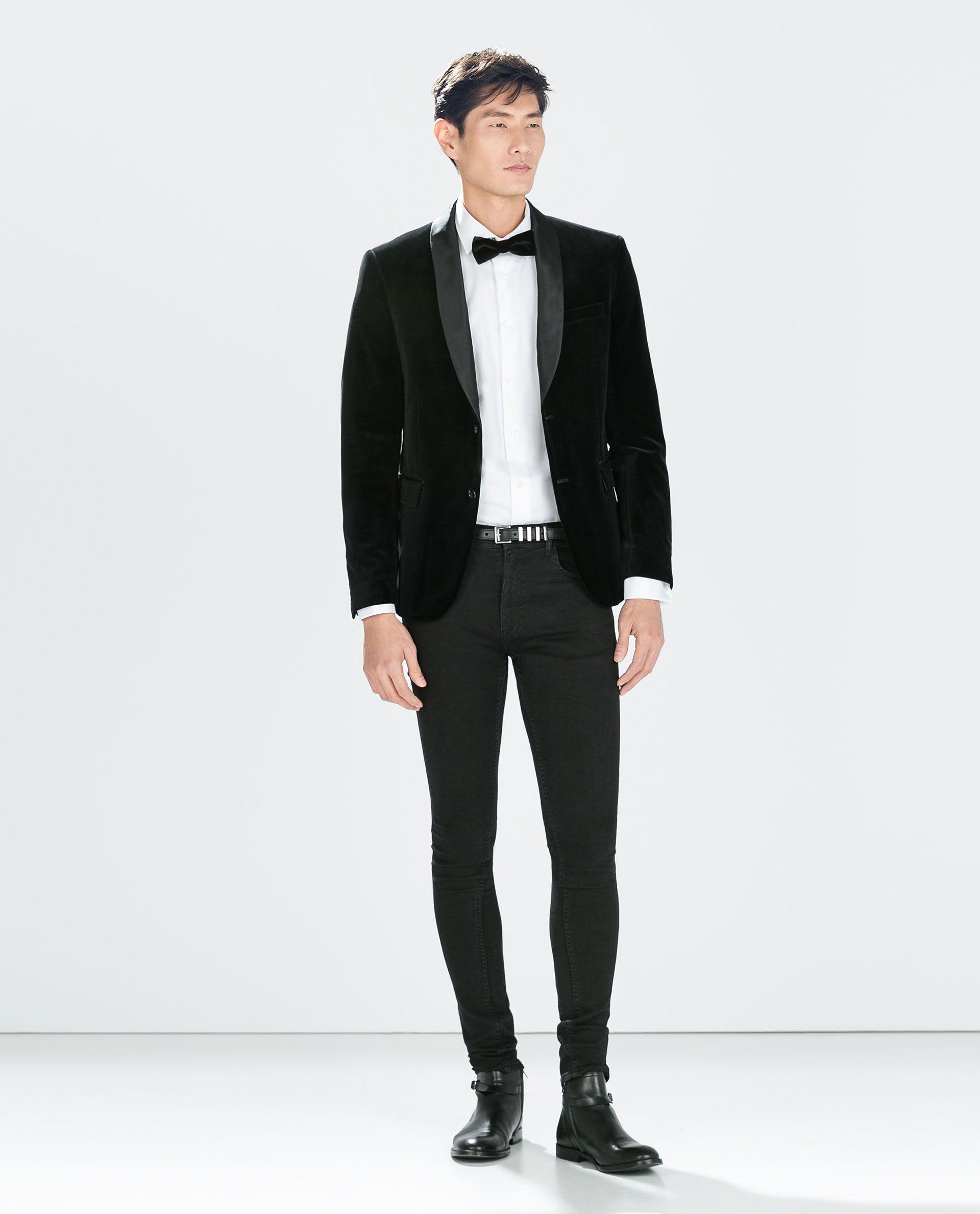 ZARA - MAN - BLACK VELVET BLAZER Moda Masculina 55146f343cc