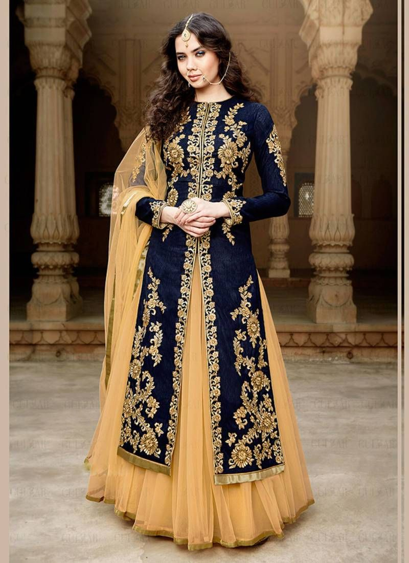 7b595f3518 Buy Navy blue embroidered Bangalori silk semi stitched Anarkali Lehenga suit  with dupatta Online