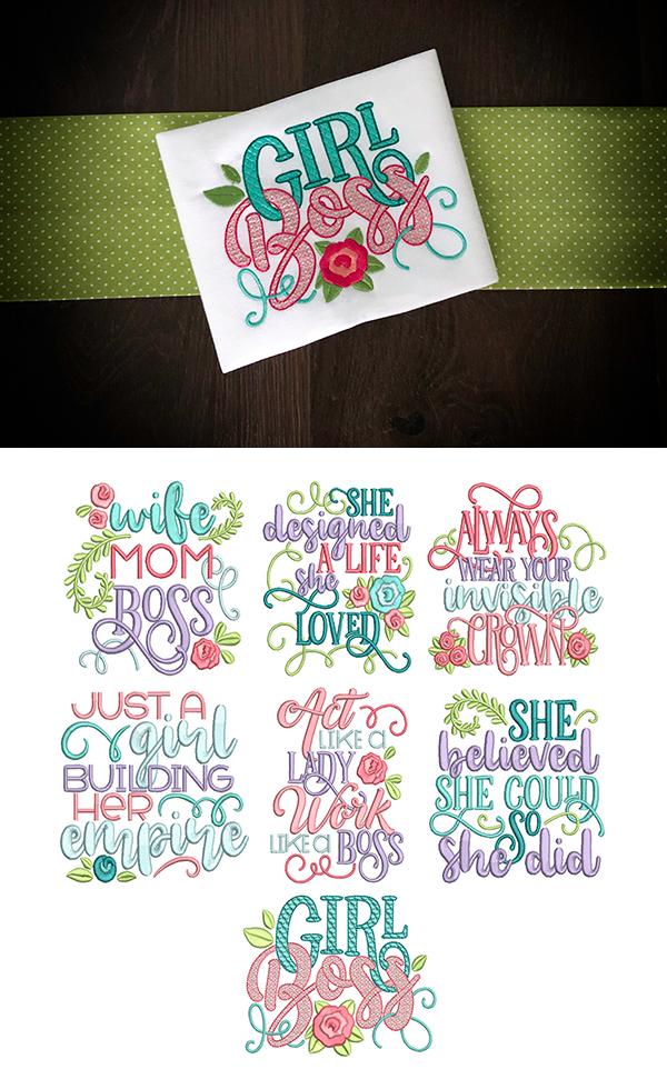 Girl Boss Word Art Machine embroidery applique