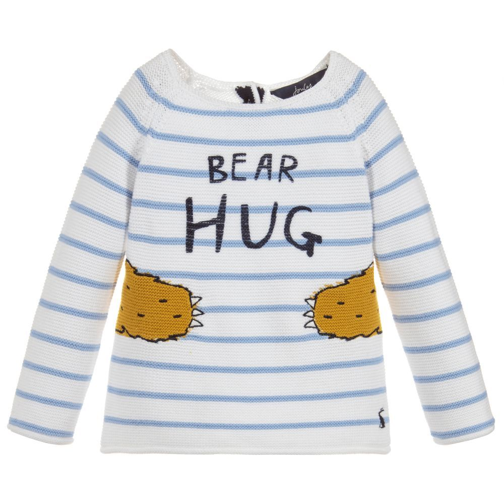 e938b504a Baby boys white and pale blue striped sweater by Joules