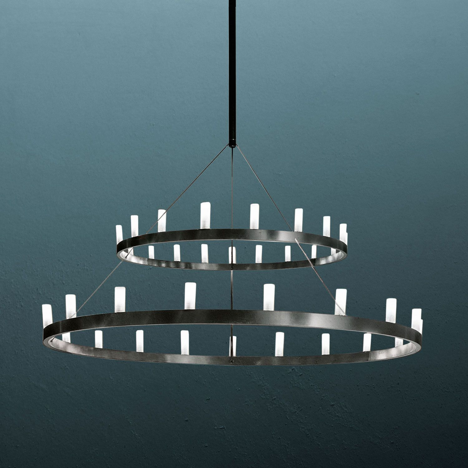 Chandelier double lighting suspension lamp structure in grey product chandelier manufacturer fontanaarte designer david chipperfield year 2004 architonic id 2060539 arubaitofo Images