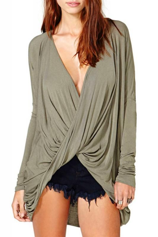 Deep V-neck Shirred Long Sleeve T-shirt